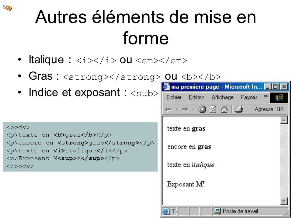 Autres éléments de mise en forme Italique : ou Gras : ou Indice et exposant : et texte en gras encore en gras texte en italique Exposant M r
