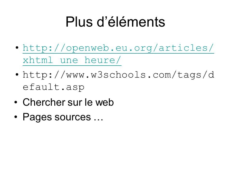 Plus déléments http://openweb.eu.org/articles/ xhtml_une_heure/http://openweb.eu.org/articles/ xhtml_une_heure/ http://www.w3schools.com/tags/d efault