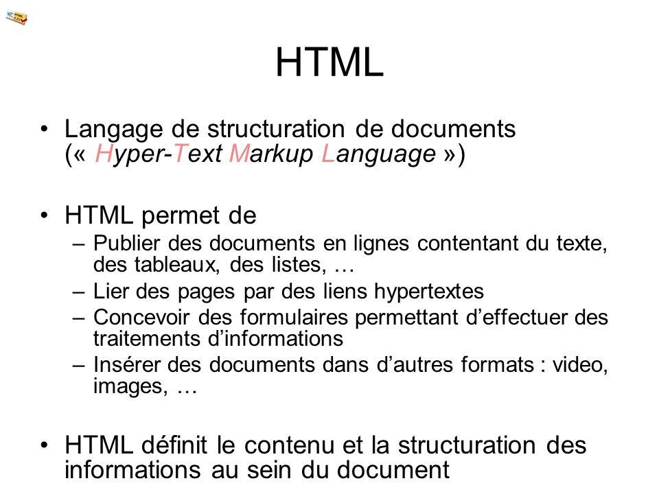 HTML Langage de structuration de documents (« Hyper-Text Markup Language ») HTML permet de –Publier des documents en lignes contentant du texte, des t