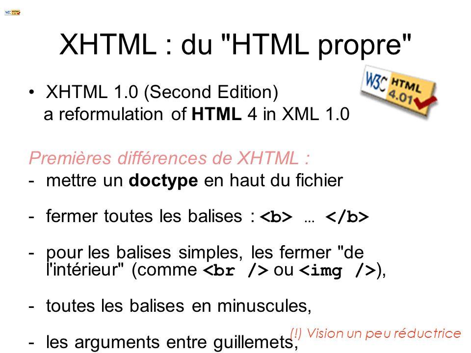 XHTML XHTML est le successeur de HTMLHTML XHTML se base sur la syntaxe définie par XMLXML Le X dans XHTML signifie «extensible » Devenu standard pour assurer la compatibilité entre navigateurs (Firefox, Internet Explorer, Mozilla, …) Pour vérifier la validité d une page, le W3C a mis en place un validateur qui comptabilise les erreurs et donne les moyens de les corriger : http://validator.w3.org/