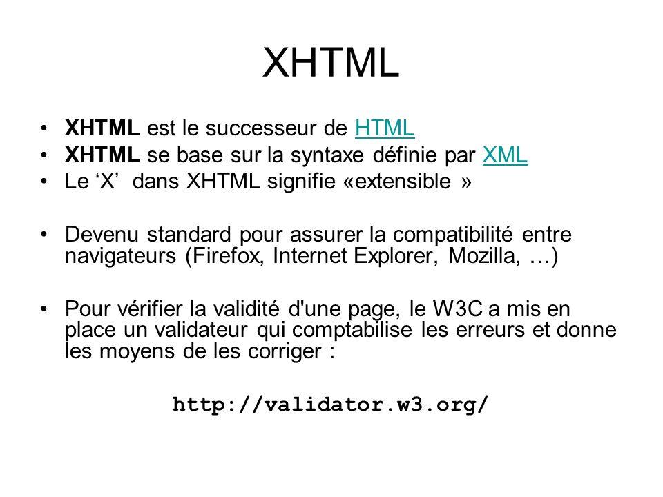 XHTML XHTML est le successeur de HTMLHTML XHTML se base sur la syntaxe définie par XMLXML Le X dans XHTML signifie «extensible » Devenu standard pour
