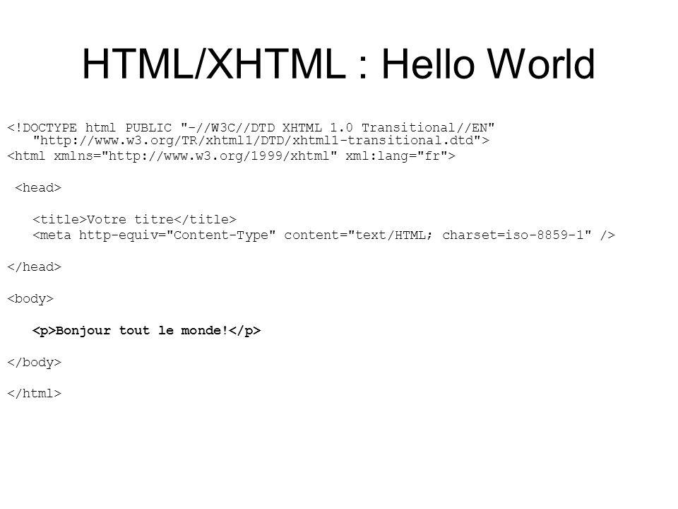 Format dun document HTML Tout document HTML commence par la balise et finit par la balise Tout document HTML contient 1.Un en-tête, délimité par les balises et 2.Un corps, délimité par les balises et ma premiere page Ma Page ma première page web