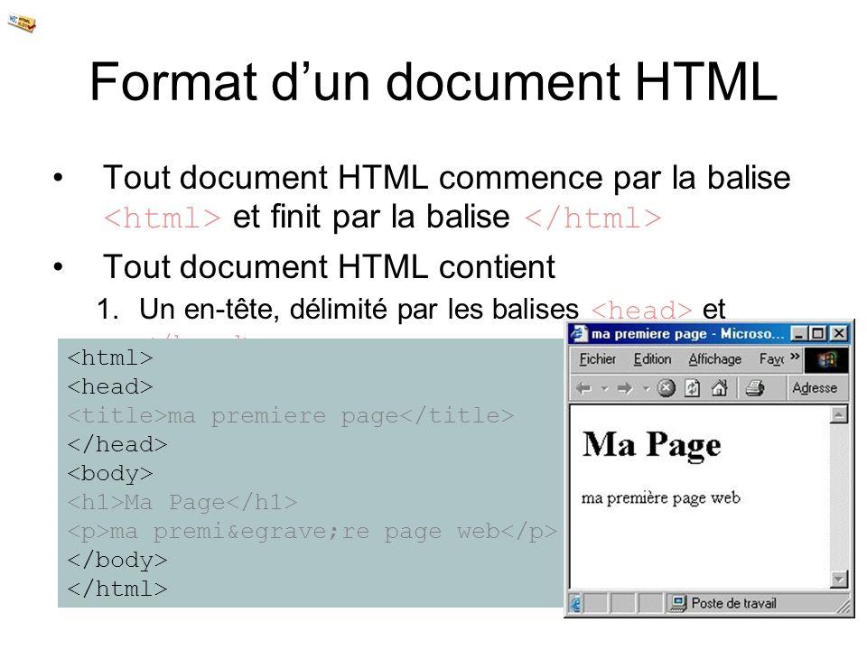 Format dun document HTML Tout document HTML commence par la balise et finit par la balise Tout document HTML contient 1.Un en-tête, délimité par les b