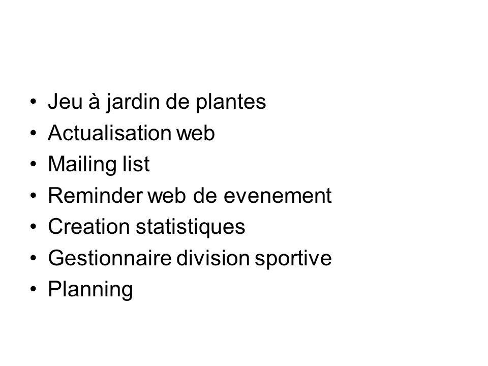 Jeu à jardin de plantes Actualisation web Mailing list Reminder web de evenement Creation statistiques Gestionnaire division sportive Planning
