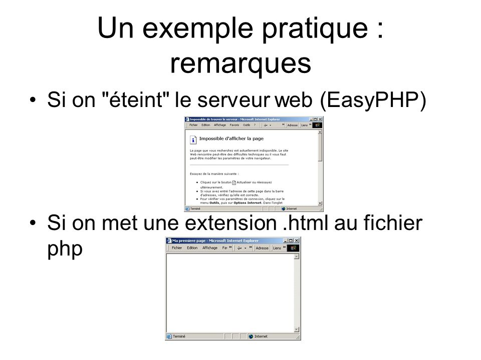 Un exemple pratique : remarques Si on éteint le serveur web (EasyPHP) Si on met une extension.html au fichier php