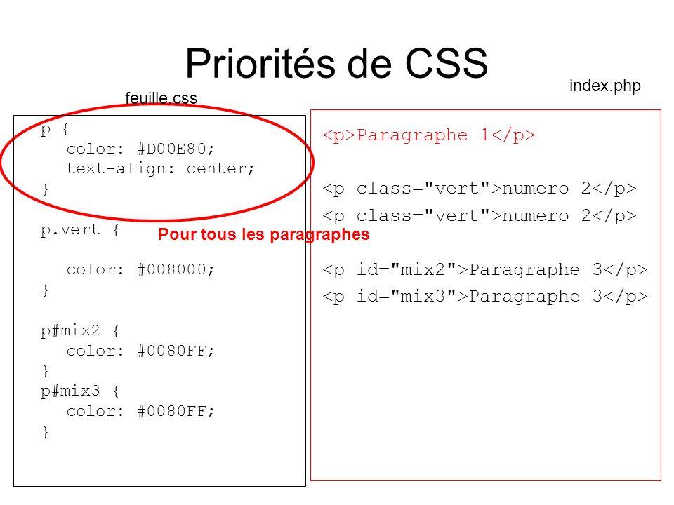 Priorités de CSS p { color: #D00E80; text-align: center; } p.vert { color: #008000; } p#mix2 { color: #0080FF; } p#mix3 { color: #0080FF; } Paragraphe