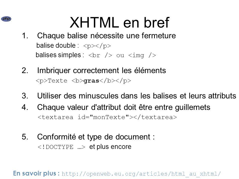 XHTML en bref 1. Chaque balise nécessite une fermeture balise double : balises simples : ou 2. Imbriquer correctement les éléments Texte gras 3. Utili