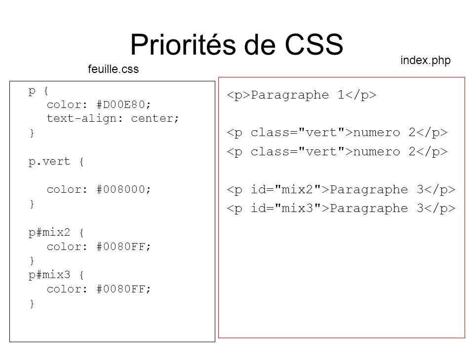 Priorités de CSS p { color: #D00E80; text-align: center; } p.vert { color: #008000; } p#mix2 { color: #0080FF; } p#mix3 { color: #0080FF; } Paragraphe 1 numero 2 Paragraphe 3 feuille.css index.php Pour tous les paragraphes