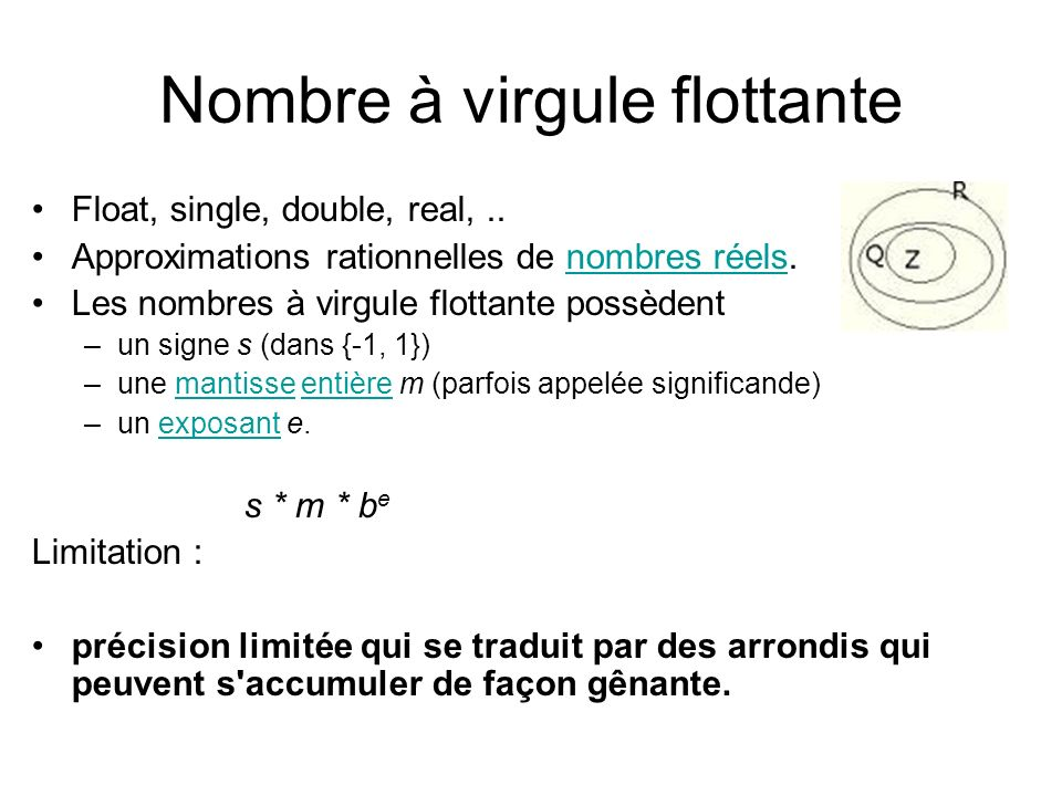 Nombre à virgule flottante Float, single, double, real,.. Approximations rationnelles de nombres réels.nombres réels Les nombres à virgule flottante p