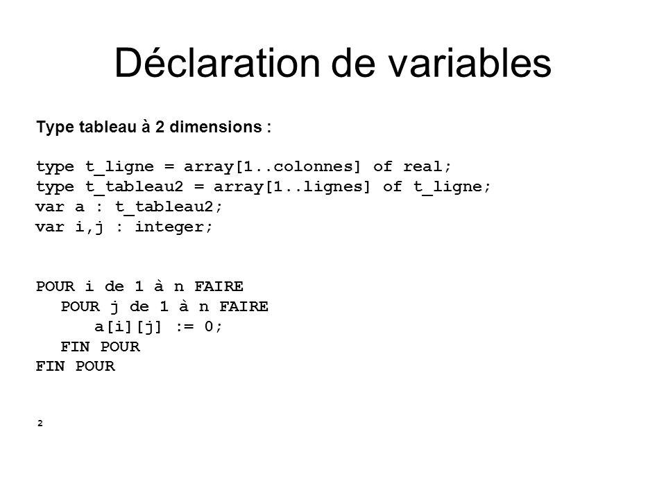 Type tableau à 2 dimensions : type t_ligne = array[1..colonnes] of real; type t_tableau2 = array[1..lignes] of t_ligne; var a : t_tableau2; var i,j :