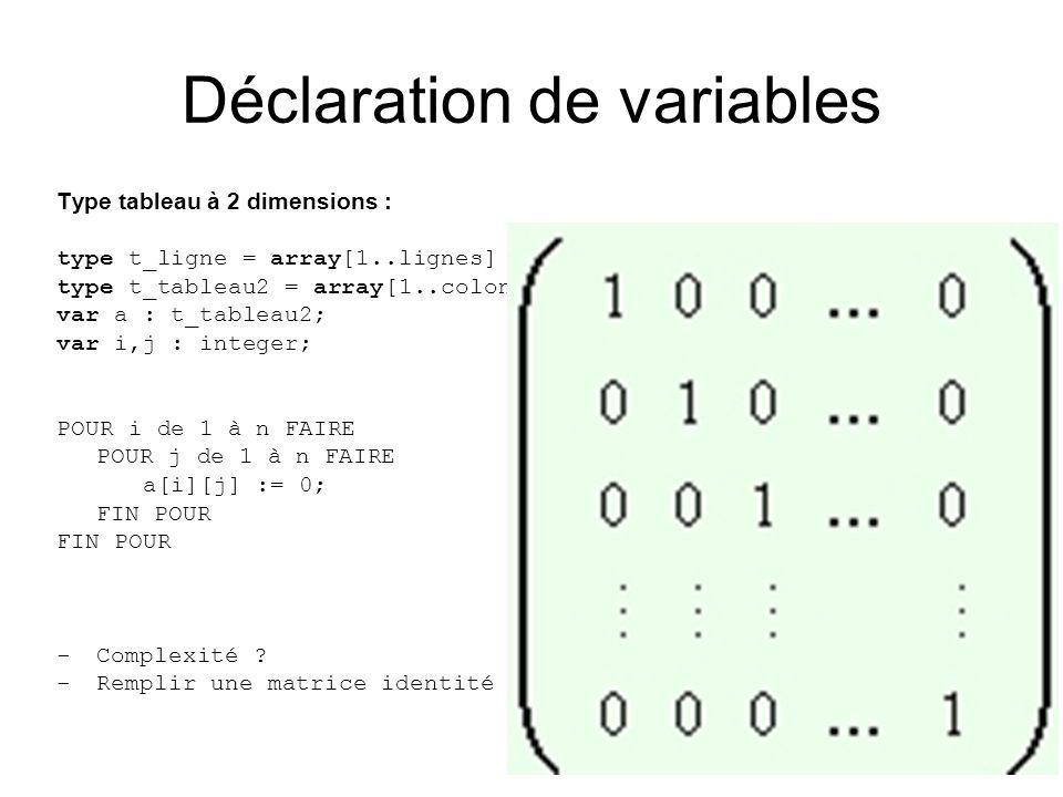 Type tableau à 2 dimensions : type t_ligne = array[1..lignes] of real; type t_tableau2 = array[1..colonnes] of t_ligne; var a : t_tableau2; var i,j :