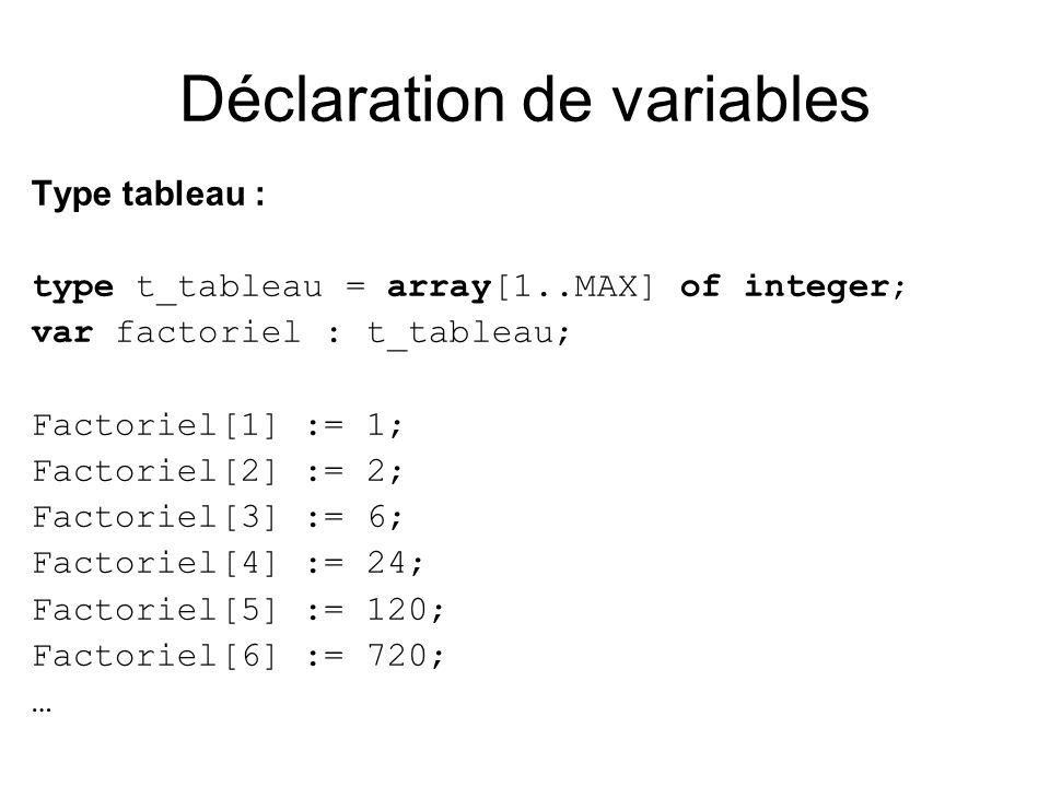 Déclaration de variables Type tableau : type t_tableau = array[1..MAX] of integer; var factoriel : t_tableau; var i, produit : integer; produit := 1; POUR i de 1 à MAX faire produit := i*produit; factoriel[i] := Produit; FIN POUR