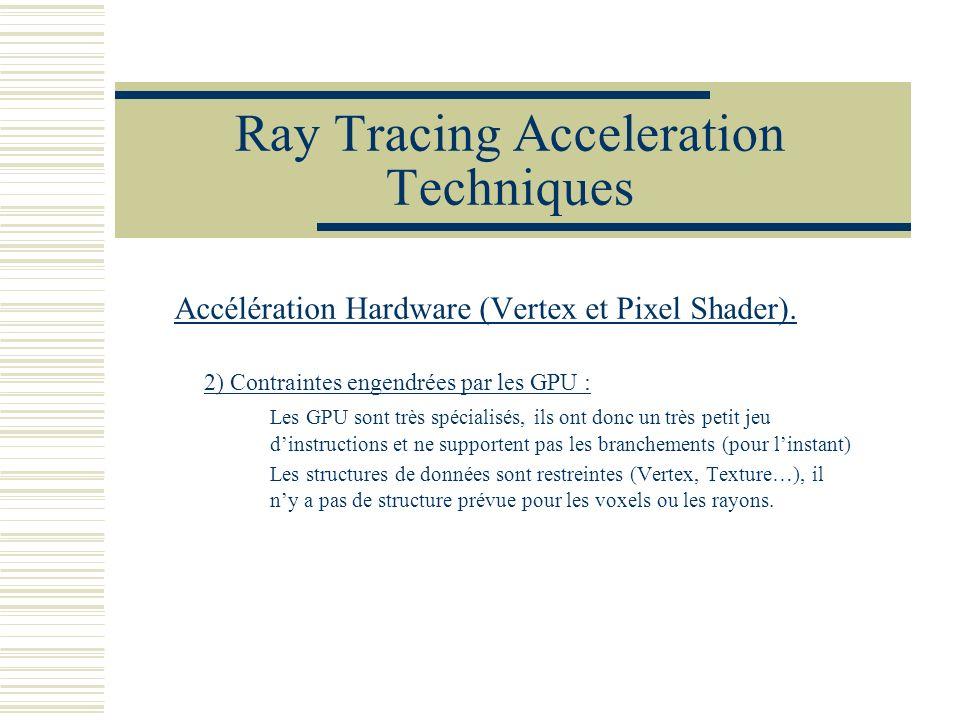 Ray Tracing Acceleration Techniques Accélération Hardware (Vertex et Pixel Shader). 2) Contraintes engendrées par les GPU : Les GPU sont très spéciali