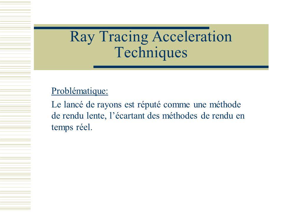 Ray Tracing Acceleration Techniques Problématique: Le lancé de rayons est réputé comme une méthode de rendu lente, lécartant des méthodes de rendu en
