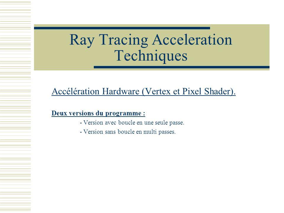 Ray Tracing Acceleration Techniques Accélération Hardware (Vertex et Pixel Shader). Deux versions du programme : - Version avec boucle en une seule pa