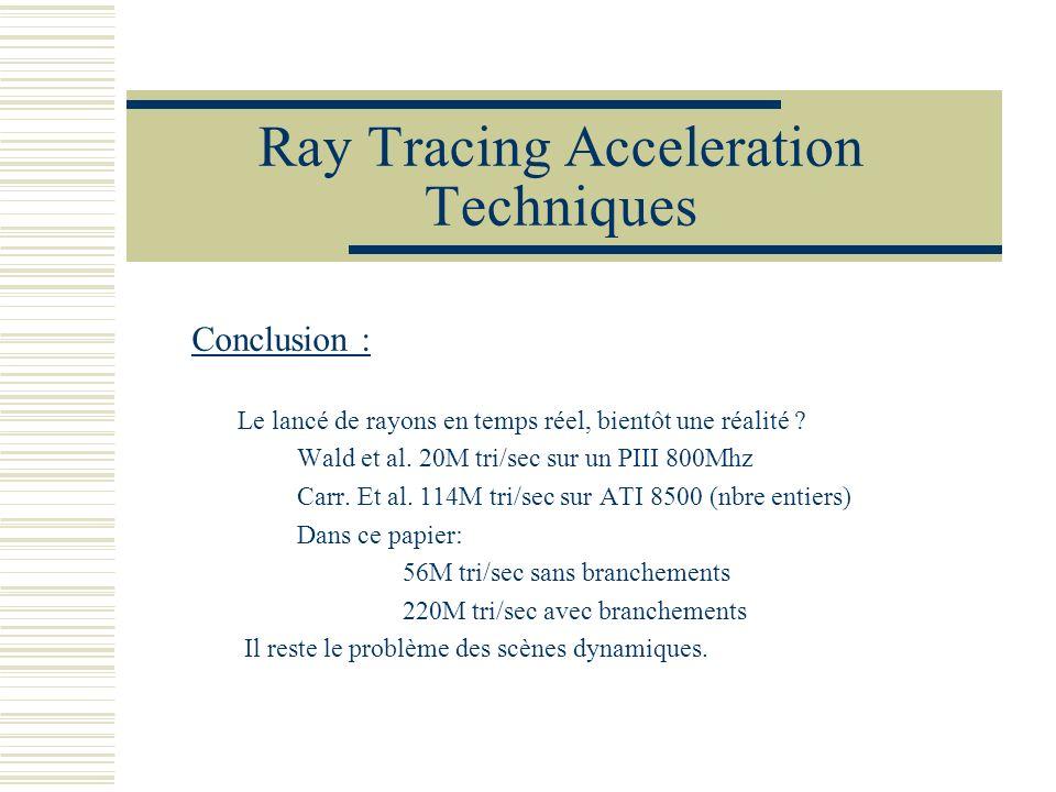 Ray Tracing Acceleration Techniques Conclusion : Le lancé de rayons en temps réel, bientôt une réalité ? Wald et al. 20M tri/sec sur un PIII 800Mhz Ca