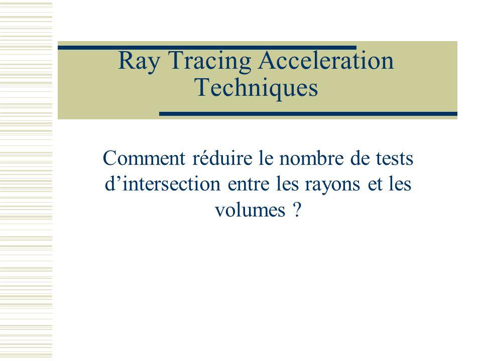 Ray Tracing Acceleration Techniques Comment réduire le nombre de tests dintersection entre les rayons et les volumes ?