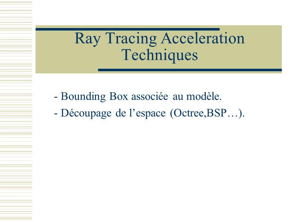 Ray Tracing Acceleration Techniques - Bounding Box associée au modèle. - Découpage de lespace (Octree,BSP…).