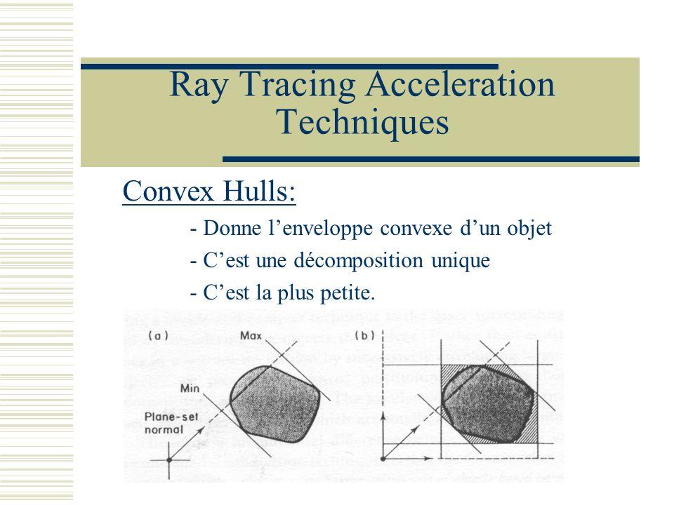 Ray Tracing Acceleration Techniques Convex Hulls: - Donne lenveloppe convexe dun objet - Cest une décomposition unique - Cest la plus petite.
