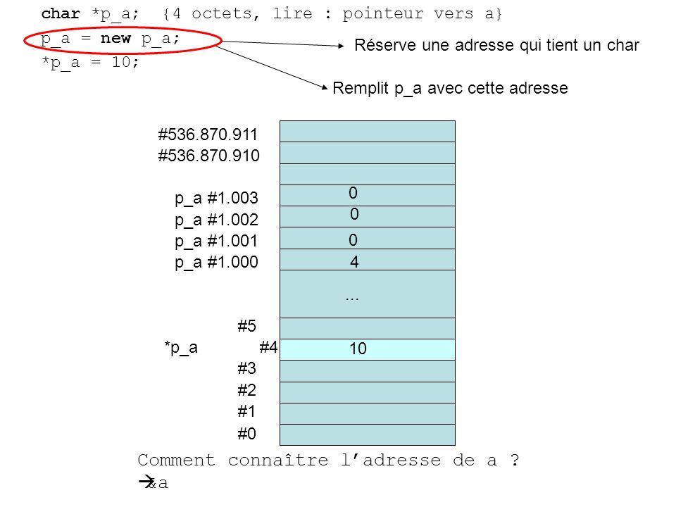 char *p_a; {4 octets, lire : pointeur vers a} p_a = new p_a; *p_a = 10; #0 #1 #2 #3 *p_a #4 #5...