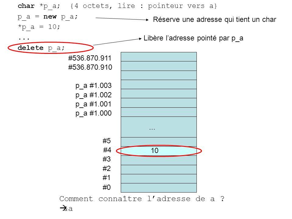 char *p_a; {4 octets, lire : pointeur vers a} p_a = new p_a; *p_a = 10;...
