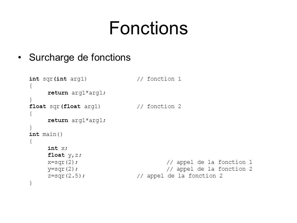 Fonctions Surcharge de fonctions int sqr(int arg1) // fonction 1 { return arg1*arg1; } float sqr(float arg1)// fonction 2 { return arg1*arg1; } int main() { int x; float y,z; x=sqr(2);// appel de la fonction 1 y=sqr(2);// appel de la fonction 2 z=sqr(2.5);// appel de la fonction 2 }