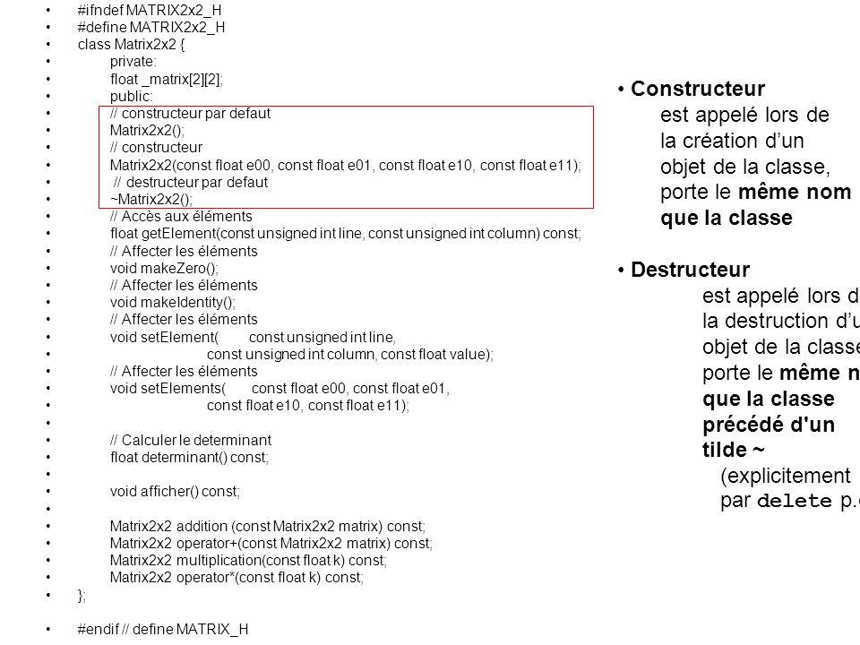 #ifndef MATRIX2x2_H #define MATRIX2x2_H class Matrix2x2 { private: float _matrix[2][2]; public: // constructeur par defaut Matrix2x2(); // constructeur Matrix2x2(const float e00, const float e01, const float e10, const float e11); // destructeur par defaut ~Matrix2x2(); // Accès aux éléments float getElement(const unsigned int line, const unsigned int column) const; // Affecter les éléments void makeZero(); // Affecter les éléments void makeIdentity(); // Affecter les éléments void setElement( const unsigned int line, const unsigned int column, const float value); // Affecter les éléments void setElements( const float e00, const float e01, const float e10, const float e11); // Calculer le determinant float determinant() const; void afficher() const; Matrix2x2 addition (const Matrix2x2 matrix) const; Matrix2x2 operator+(const Matrix2x2 matrix) const; Matrix2x2 multiplication(const float k) const; Matrix2x2 operator*(const float k) const; }; #endif // define MATRIX_H Constructeur est appelé lors de la création dun objet de la classe, porte le même nom que la classe Destructeur est appelé lors de la destruction dun objet de la classe, porte le même nom que la classe précédé d un tilde ~ (explicitement par delete p.ex.)