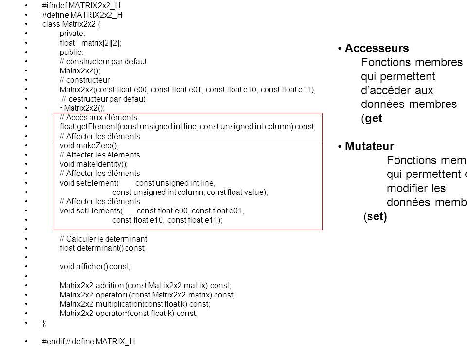 #ifndef MATRIX2x2_H #define MATRIX2x2_H class Matrix2x2 { private: float _matrix[2][2]; public: // constructeur par defaut Matrix2x2(); // constructeur Matrix2x2(const float e00, const float e01, const float e10, const float e11); // destructeur par defaut ~Matrix2x2(); // Accès aux éléments float getElement(const unsigned int line, const unsigned int column) const; // Affecter les éléments void makeZero(); // Affecter les éléments void makeIdentity(); // Affecter les éléments void setElement( const unsigned int line, const unsigned int column, const float value); // Affecter les éléments void setElements( const float e00, const float e01, const float e10, const float e11); // Calculer le determinant float determinant() const; void afficher() const; Matrix2x2 addition (const Matrix2x2 matrix) const; Matrix2x2 operator+(const Matrix2x2 matrix) const; Matrix2x2 multiplication(const float k) const; Matrix2x2 operator*(const float k) const; }; #endif // define MATRIX_H Accesseurs Fonctions membres qui permettent daccéder aux données membres (get Mutateur Fonctions membres qui permettent de modifier les données membres (set)