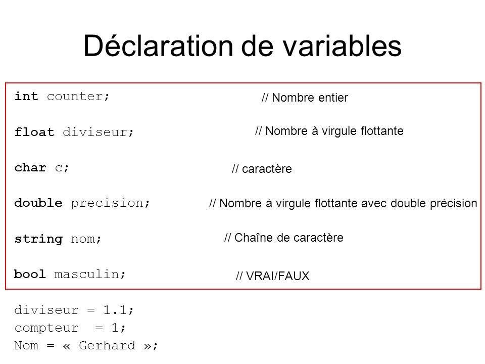 Déclaration de variables int counter; float diviseur; char c; double precision; string nom; bool masculin; diviseur = 1.1; compteur = 1; Nom = « Gerhard »; // Nombre entier // Nombre à virgule flottante // Nombre à virgule flottante avec double précision // caractère // Chaîne de caractère // VRAI/FAUX