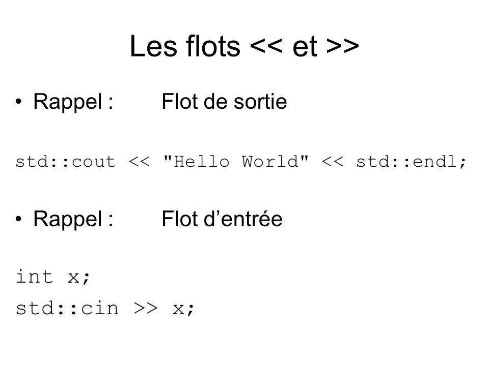 Les flots > Rappel :Flot de sortie std::cout << Hello World << std::endl; Rappel :Flot dentrée int x; std::cin >> x;