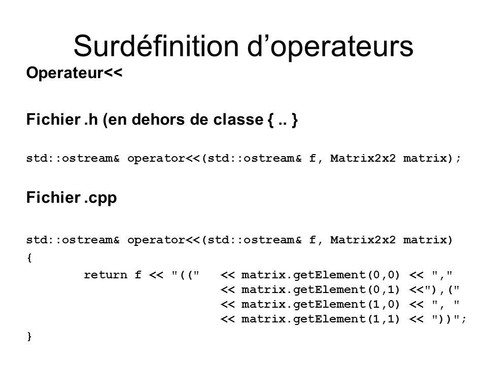 Operateur<< Fichier.h (en dehors de classe {.. } std::ostream& operator<<(std::ostream& f, Matrix2x2 matrix); Fichier.cpp std::ostream& operator<<(std
