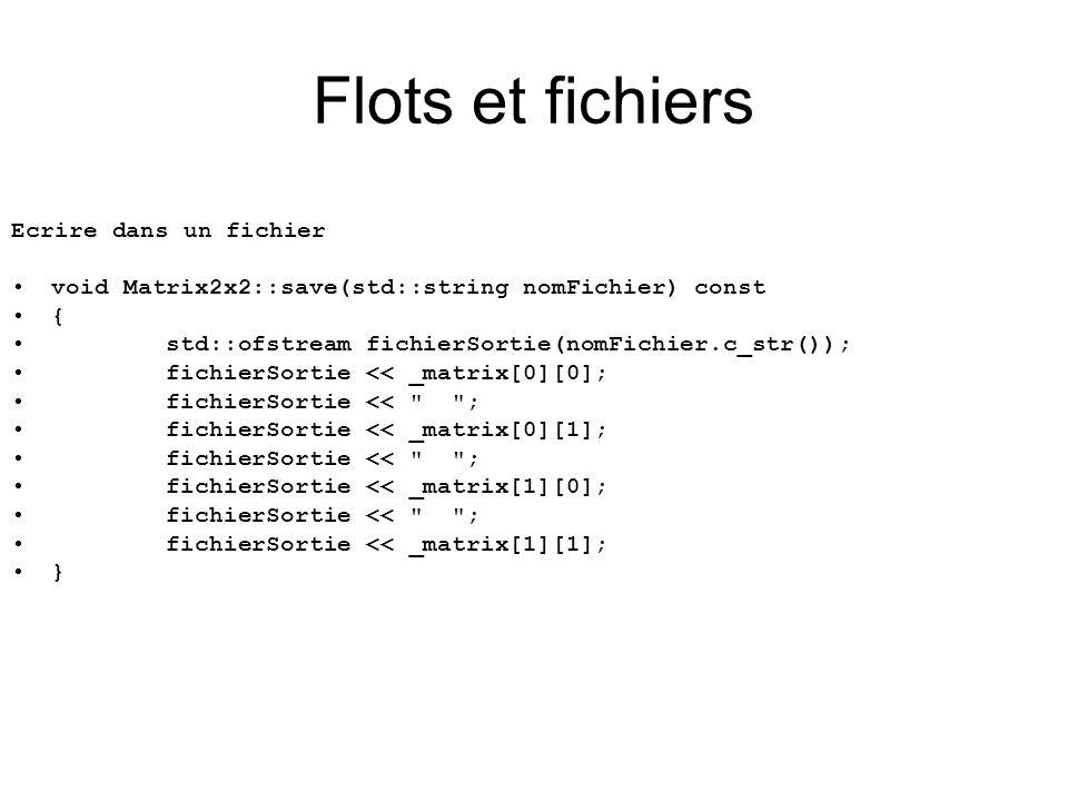 Ecrire dans un fichier void Matrix2x2::save(std::string nomFichier) const { std::ofstream fichierSortie(nomFichier.c_str()); fichierSortie << _matrix[0][0]; fichierSortie << ; fichierSortie << _matrix[0][1]; fichierSortie << ; fichierSortie << _matrix[1][0]; fichierSortie << ; fichierSortie << _matrix[1][1]; } Flots et fichiers
