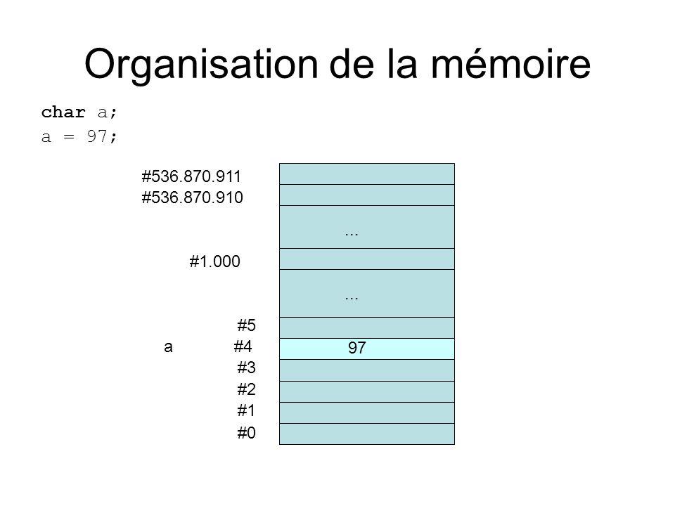 Organisation de la mémoire char a; a = 97; #0 #1 #2 #3 a #4 #5... #536.870.910 #536.870.911 #1.000... 97