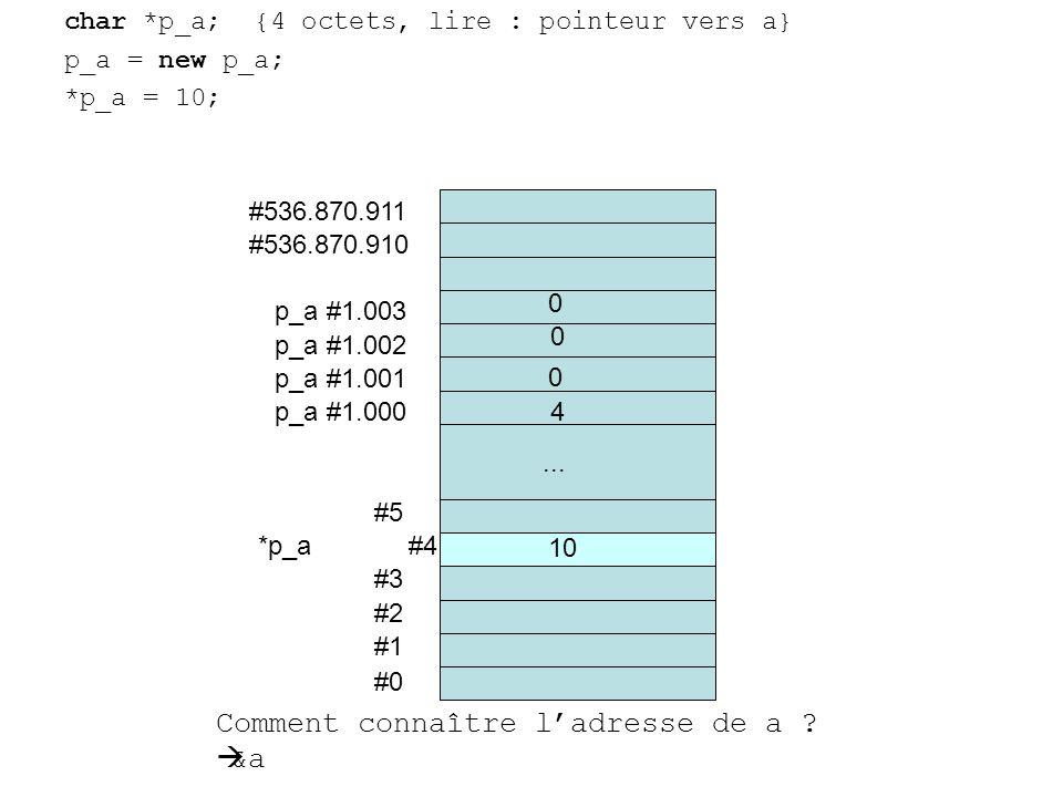 char *p_a; {4 octets, lire : pointeur vers a} p_a = new p_a; *p_a = 10; #0 #1 #2 #3 *p_a #4 #5... #536.870.910 #536.870.911 p_a #1.000 0 10 Comment co
