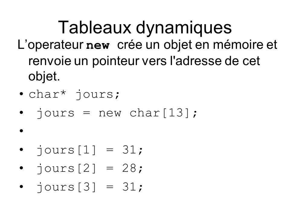Tableaux dynamiques Loperateur new crée un objet en mémoire et renvoie un pointeur vers l'adresse de cet objet. char* jours; jours = new char[13]; jou