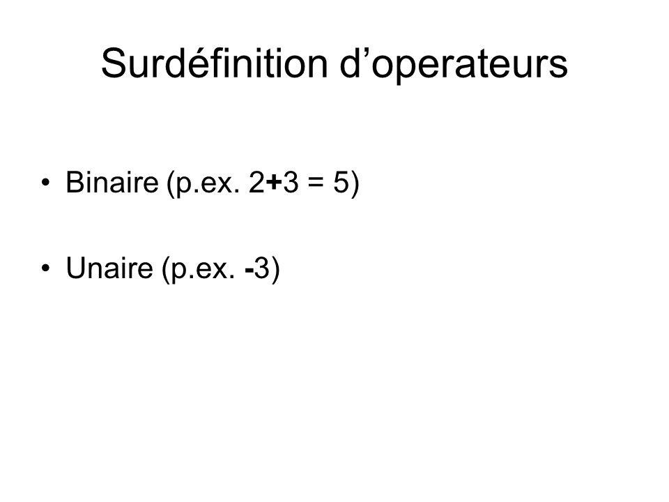 Surdéfinition doperateurs Binaire (p.ex. 2+3 = 5) Unaire (p.ex. -3)