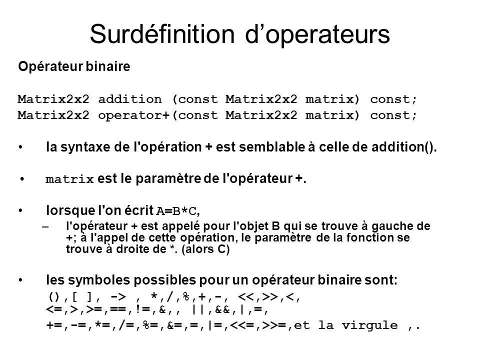 Opérateur binaire Matrix2x2 addition (const Matrix2x2 matrix) const; Matrix2x2 operator+(const Matrix2x2 matrix) const; la syntaxe de l'opération + es