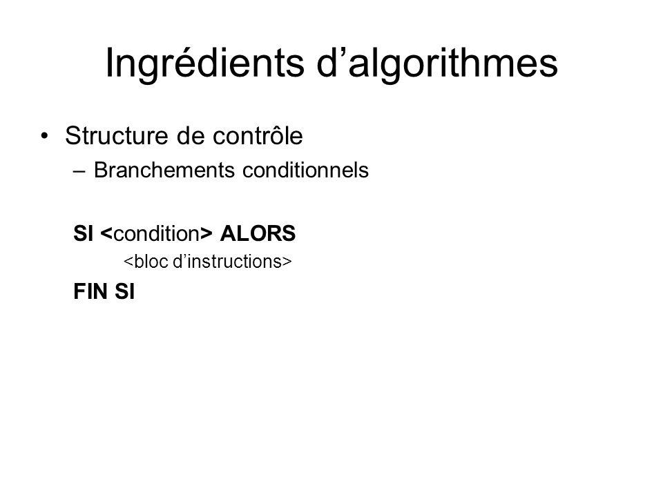 Ingrédients dalgorithmes Structure de contrôle –Branchements conditionnels SI ALORS FIN SI