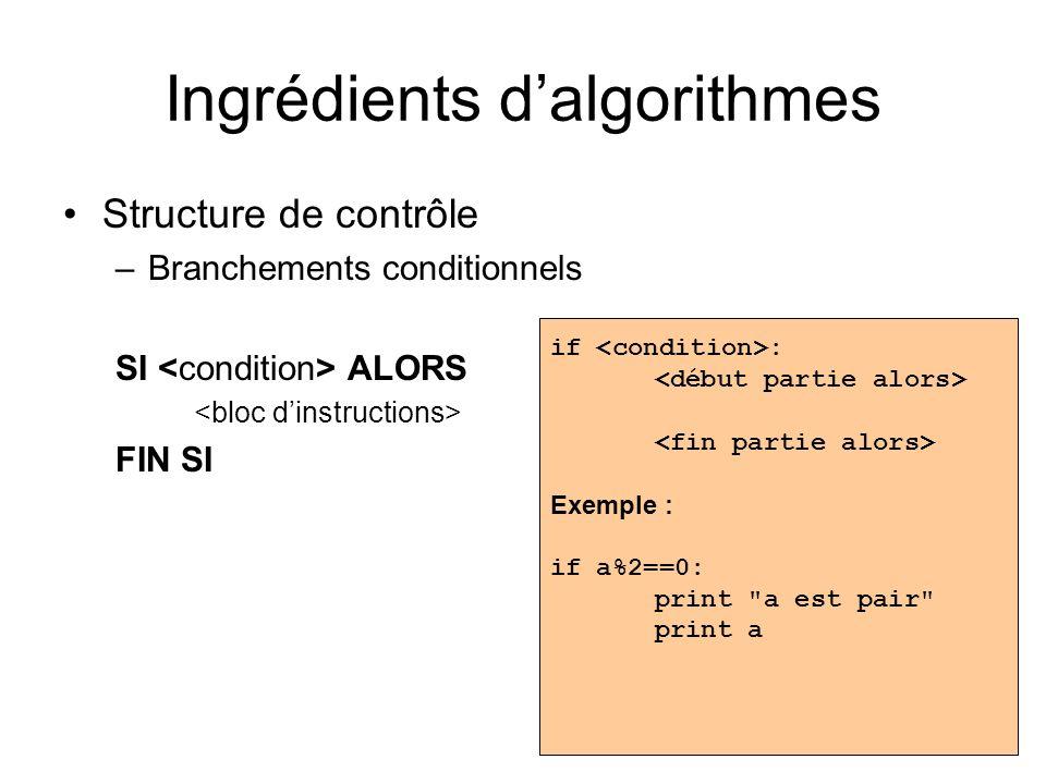 Ingrédients dalgorithmes Structure de contrôle –Branchements conditionnels SI ALORS FIN SI if : Exemple : if a%2==0: print