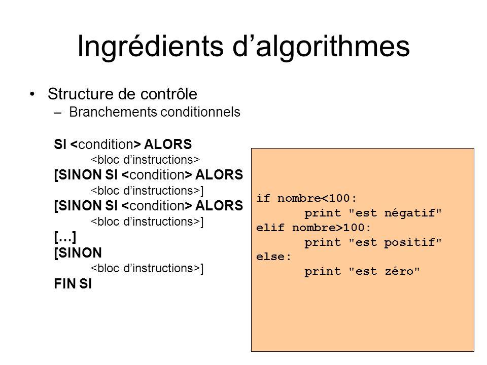 Ingrédients dalgorithmes Structure de contrôle –Branchements conditionnels SI ALORS [SINON SI ALORS ] [SINON SI ALORS ] […] [SINON ] FIN SI if nombre<100: print est négatif elif nombre>100: print est positif else: print est zéro