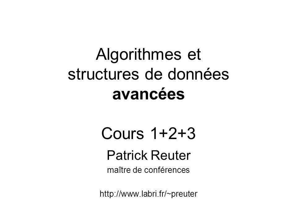 Algorithmes et structures de données avancées Cours 1+2+3 Patrick Reuter maître de conférences http://www.labri.fr/~preuter
