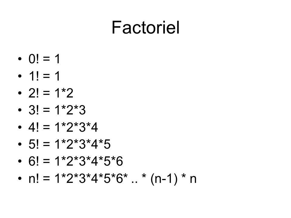 Factoriel 0! = 1 1! = 1 2! = 1*2 3! = 1*2*3 4! = 1*2*3*4 5! = 1*2*3*4*5 6! = 1*2*3*4*5*6 n! = 1*2*3*4*5*6*.. * (n-1) * n