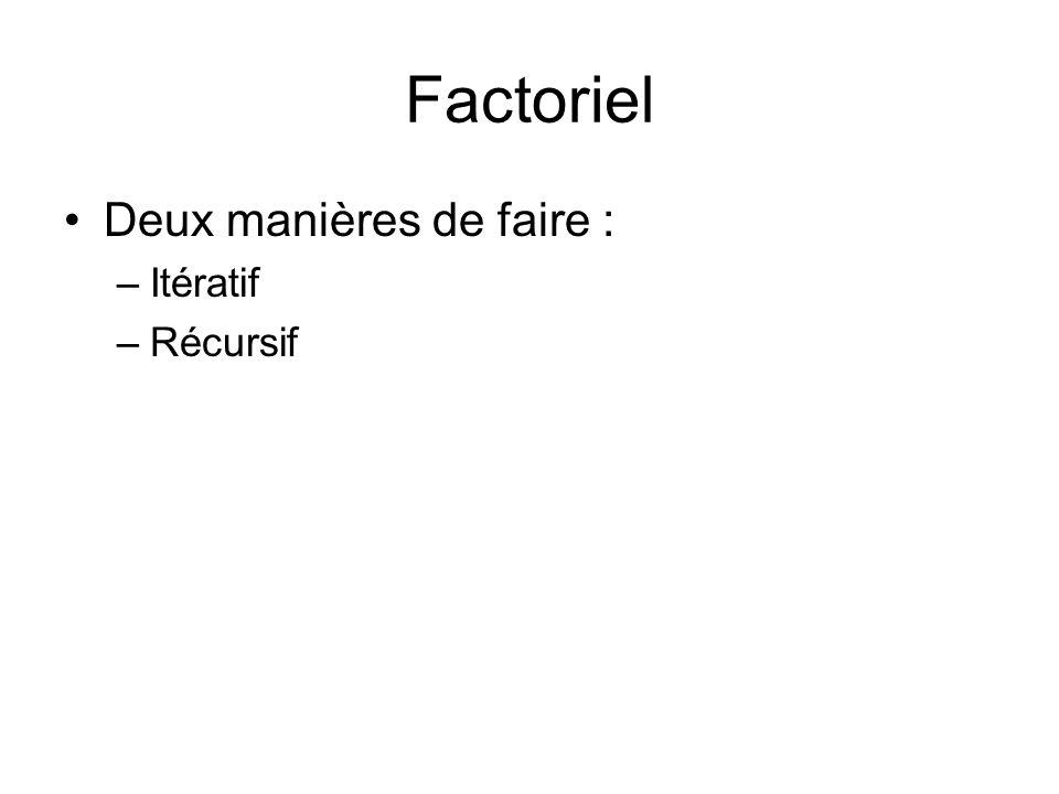 Factoriel Deux manières de faire : –Itératif –Récursif