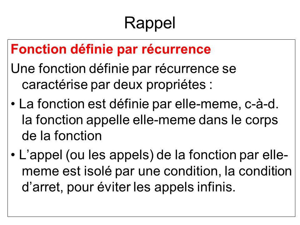 Rappel Fonction définie par récurrence Une fonction définie par récurrence se caractérise par deux propriétes : La fonction est définie par elle-meme,