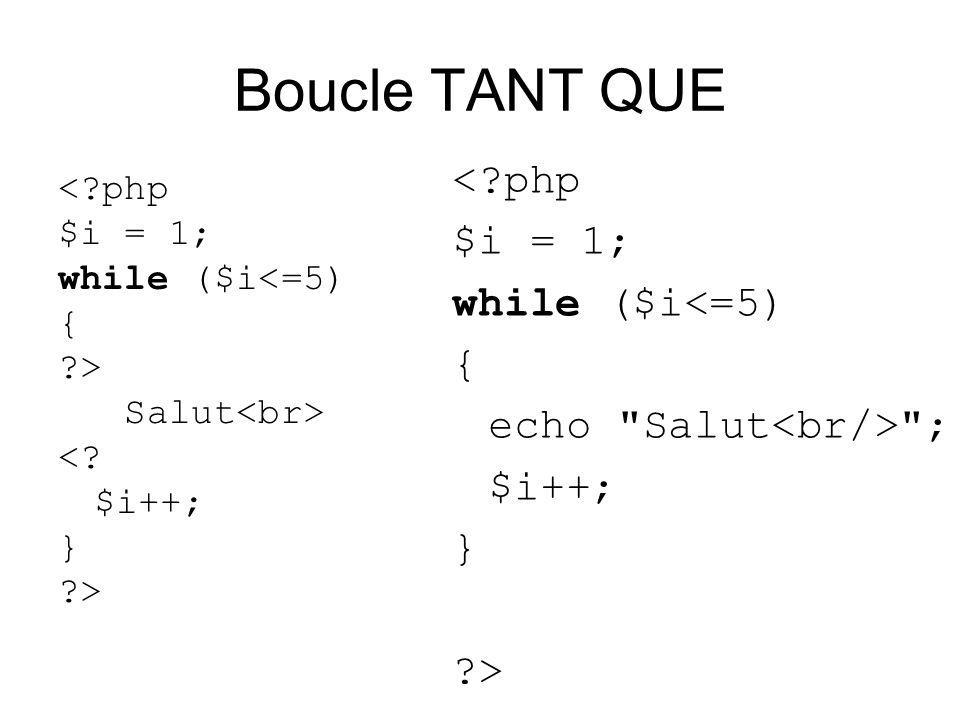 Boucle TANT QUE < php $i = 1; while ($i<=5) { > Salut <.