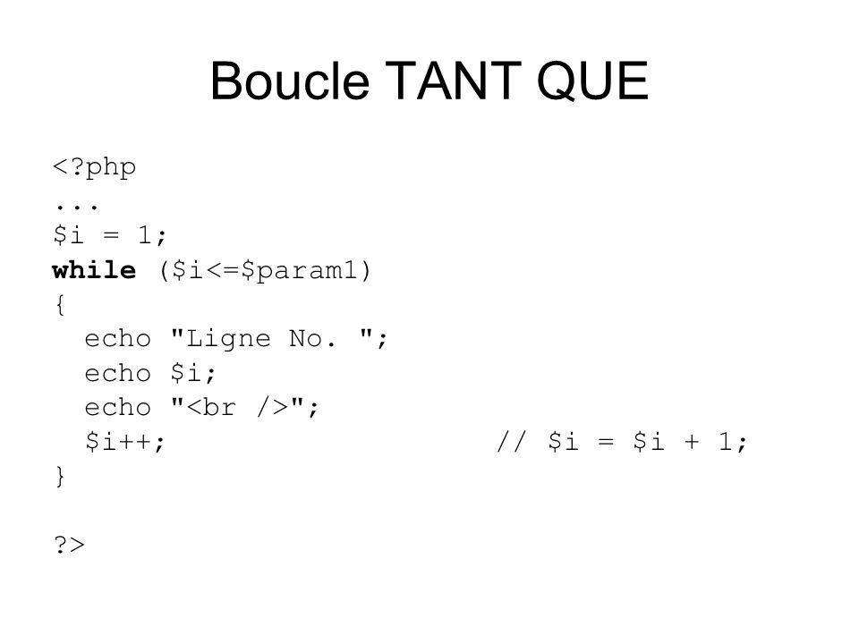 Boucle TANT QUE < php... $i = 1; while ($i<=$param1) { echo Ligne No.