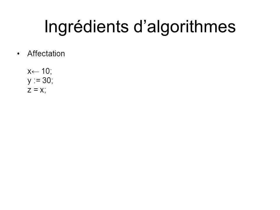 Ingrédients dalgorithmes Affectation x 10; y := 30; z = x;
