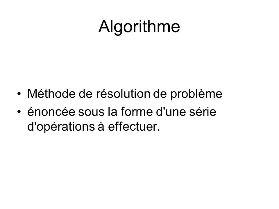 Algorithme Méthode de résolution de problème énoncée sous la forme d'une série d'opérations à effectuer.