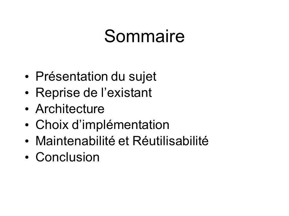 Sommaire Présentation du sujet Reprise de lexistant Architecture Choix dimplémentation Maintenabilité et Réutilisabilité Conclusion