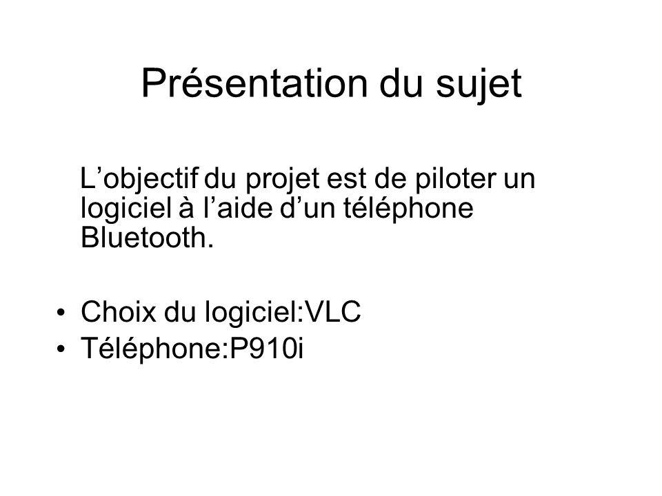 Présentation du sujet Lobjectif du projet est de piloter un logiciel à laide dun téléphone Bluetooth.